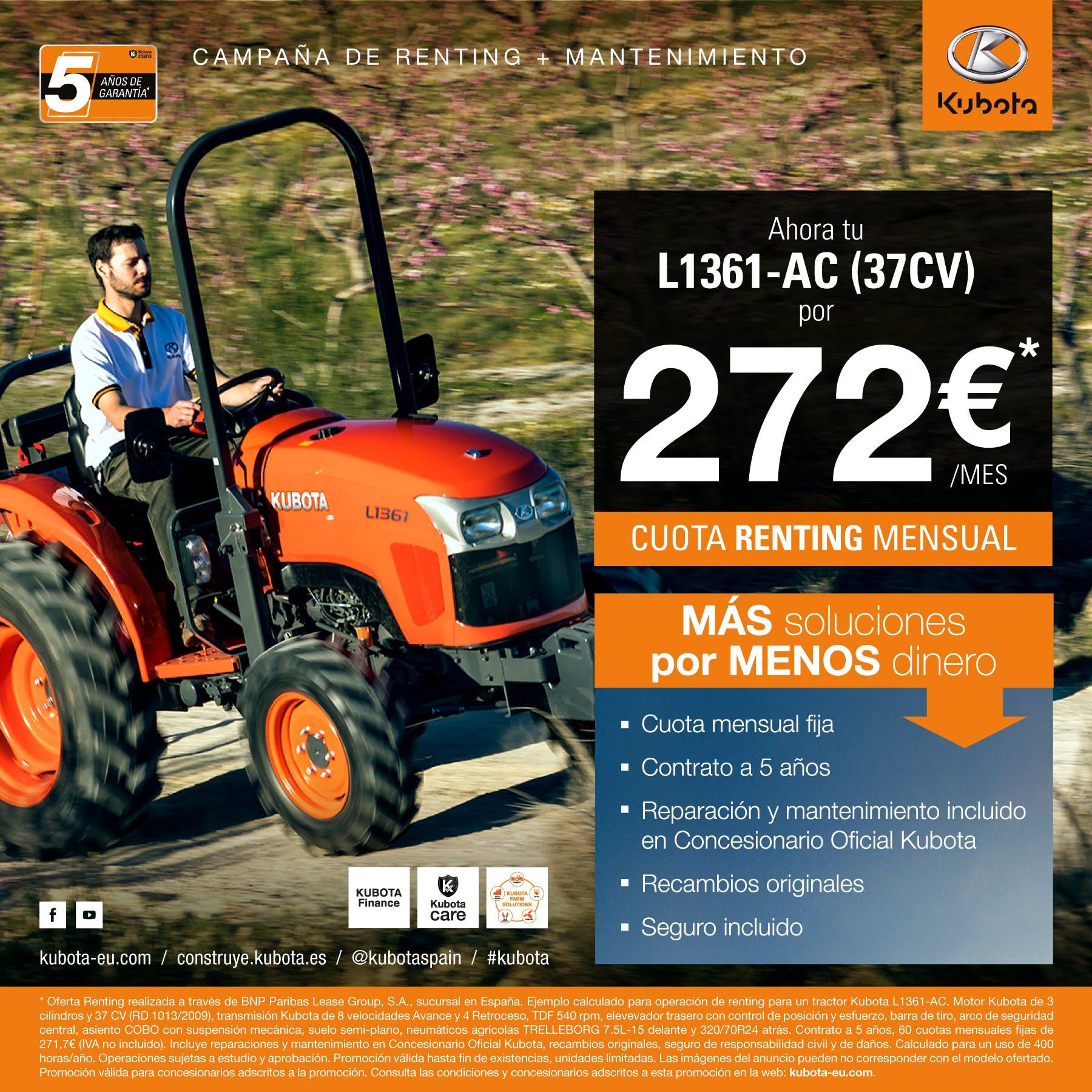 Oferta renting  tractor L1361-AC (37CV)