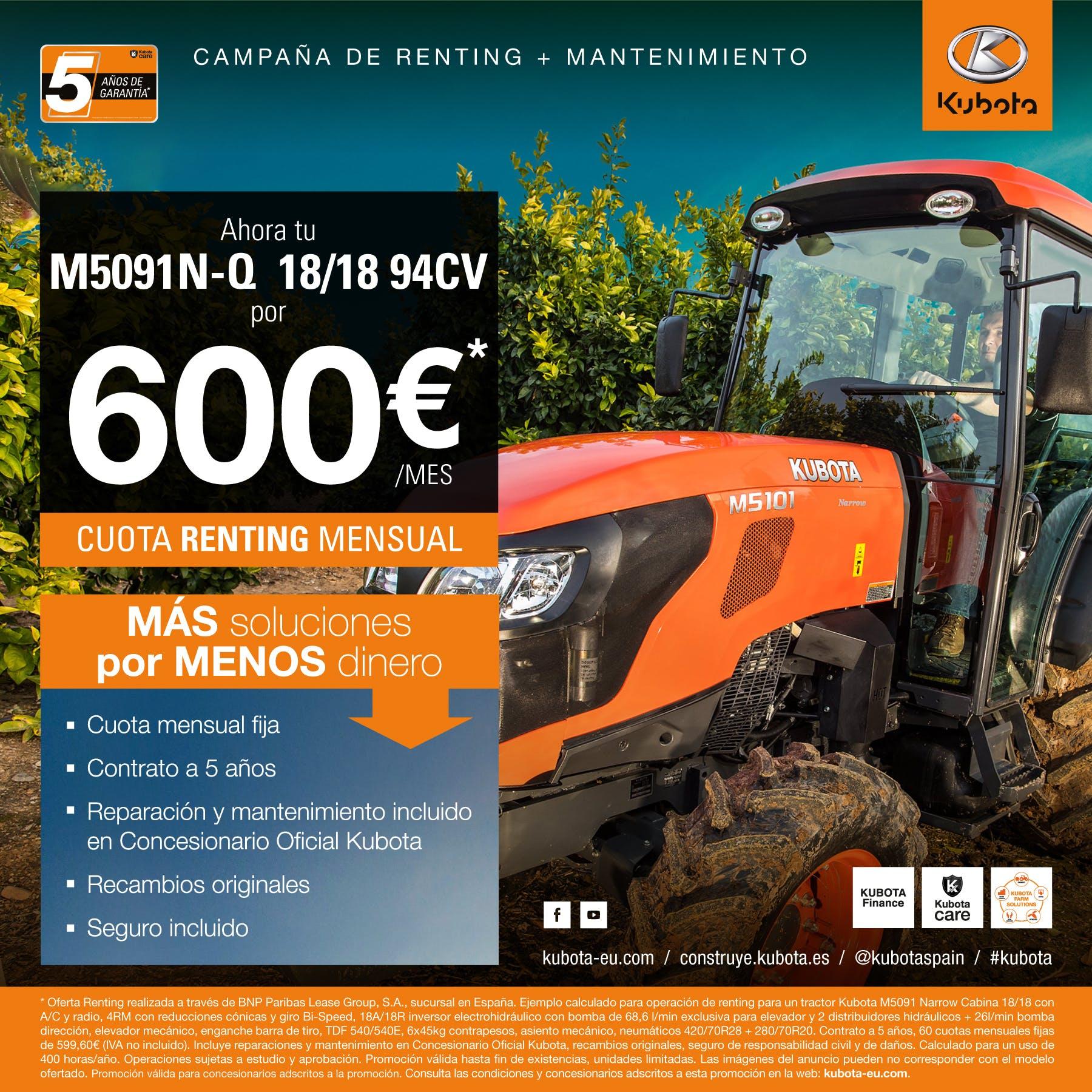 Oferta Renting tractor M5091N-Q 18/18 (94CV)