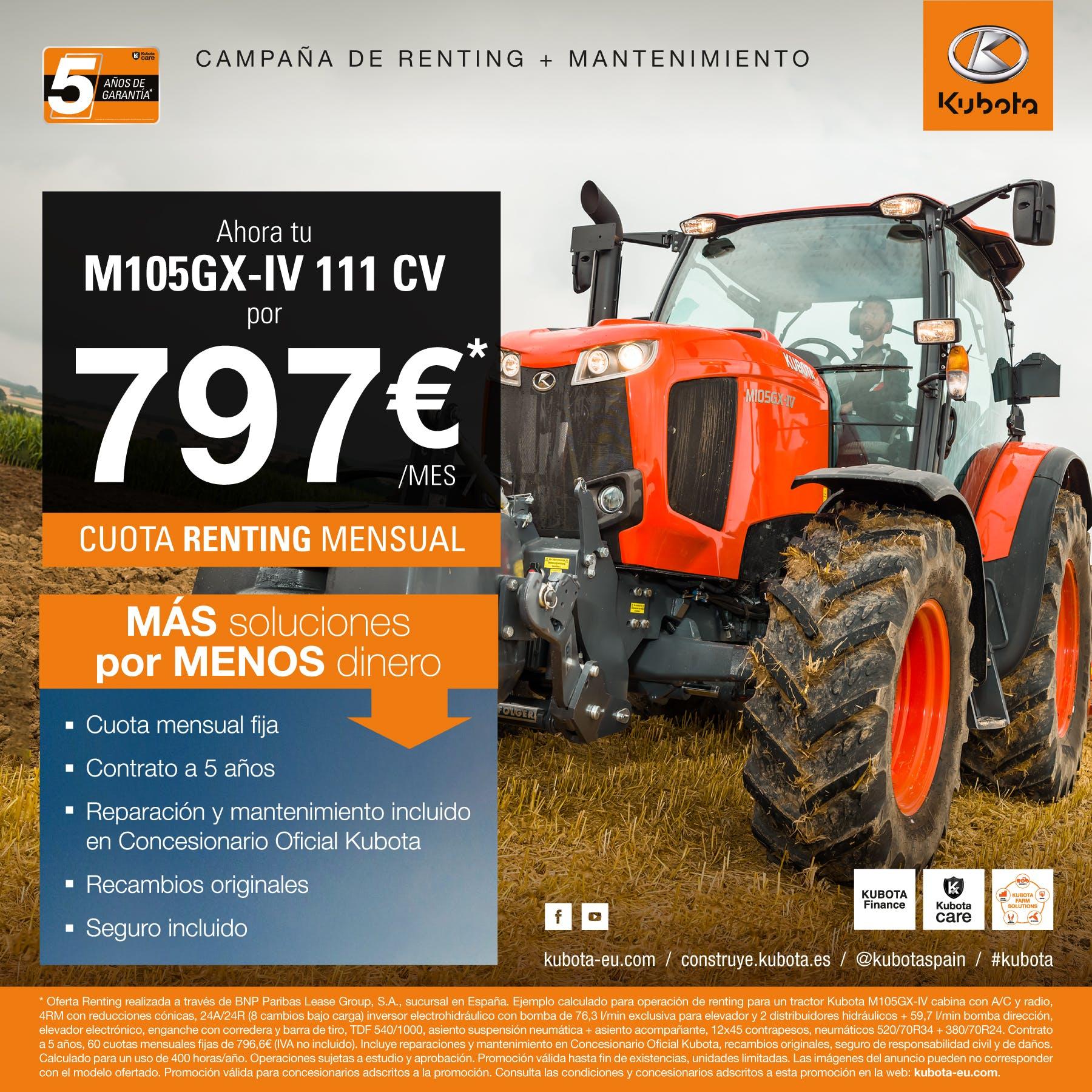 Oferta Renting tractor M105GX-IV (111CV)