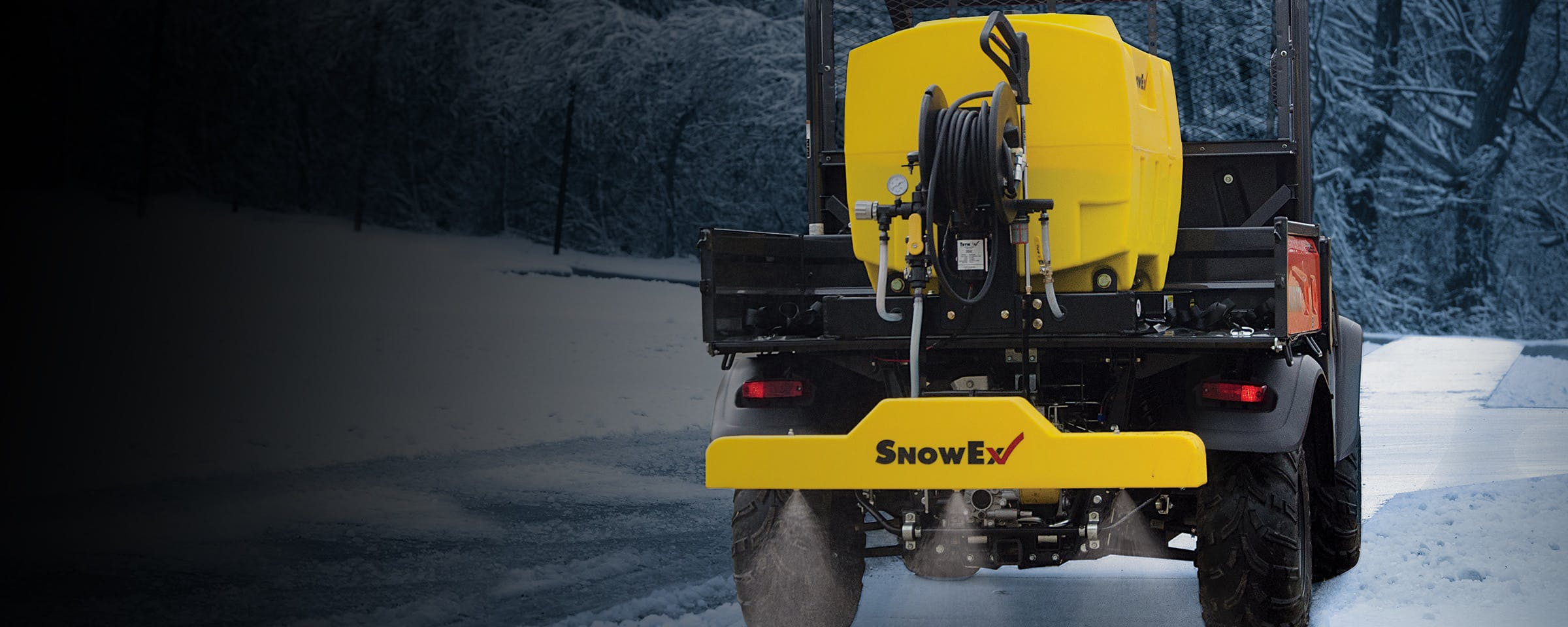 Liquid ice control can often be more accurate, effective, and use less material, than sand/salt applications, saving you money and resources. SnowEx is an innovator in this market, offering several liquid sprayer options, from pre-wet systems for spreaders to UTV bed sprayers to walk-behind sprayers.
